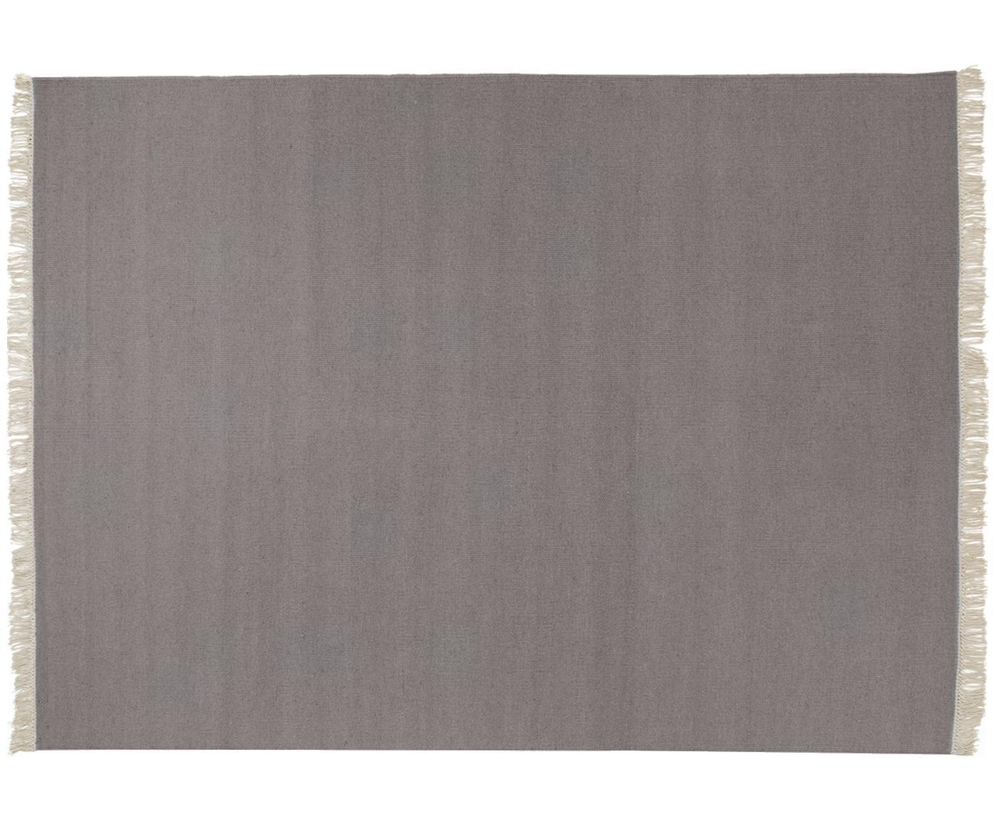 Handgeweven wollen vloerkleed Rainbow in grijs met franjes, Bovenzijde: wol, Onderzijde: katoen, Lichtgrijs, B 140 x L 200 cm (maat S)