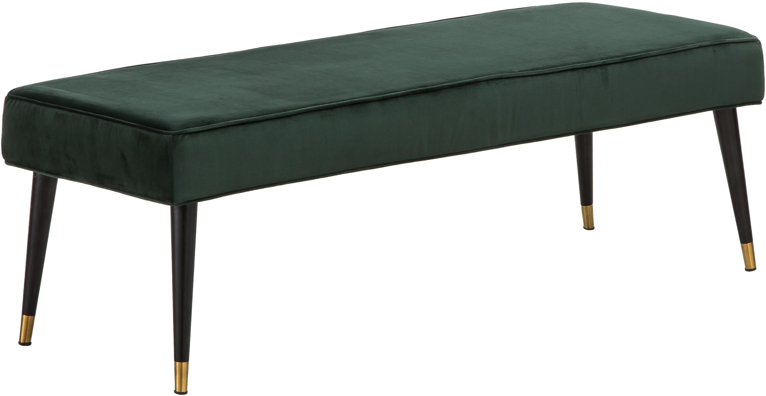 Samt-Sitzbank Beverly, Bezug: Samt (Polyester) 50.000 S, Gestell: Eukalyptusholz, Beine: Metall, pulverbeschichtet, Dunkelgrün, 140 x 46 cm