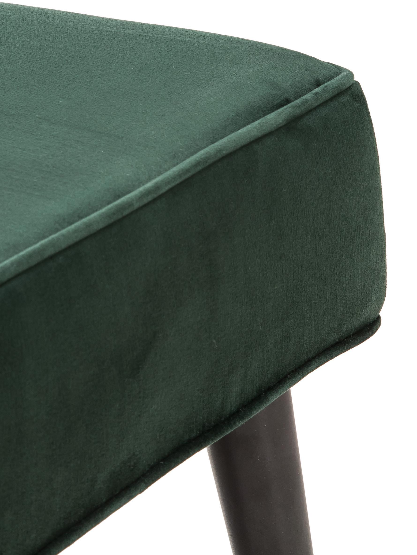 Samt-Sitzbank Beverly, Bezug: Samt (Polyester) 50.000 S, Gestell: Eukalyptusholz, Beine: Metall, pulverbeschichtet, Dunkelgrün, B 140 x H 46 cm