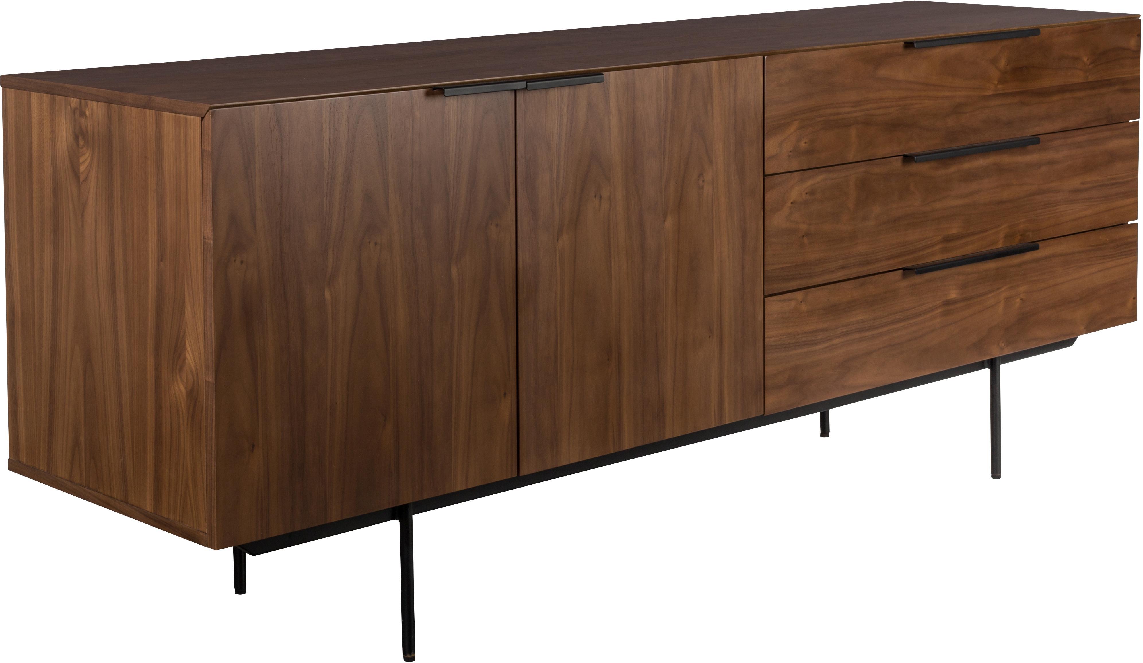 Aparador en nogal Travis, estilo retro, Estructura: tablero de fibras de dens, Marrón nogal, negro, An 180 x Al 71 cm