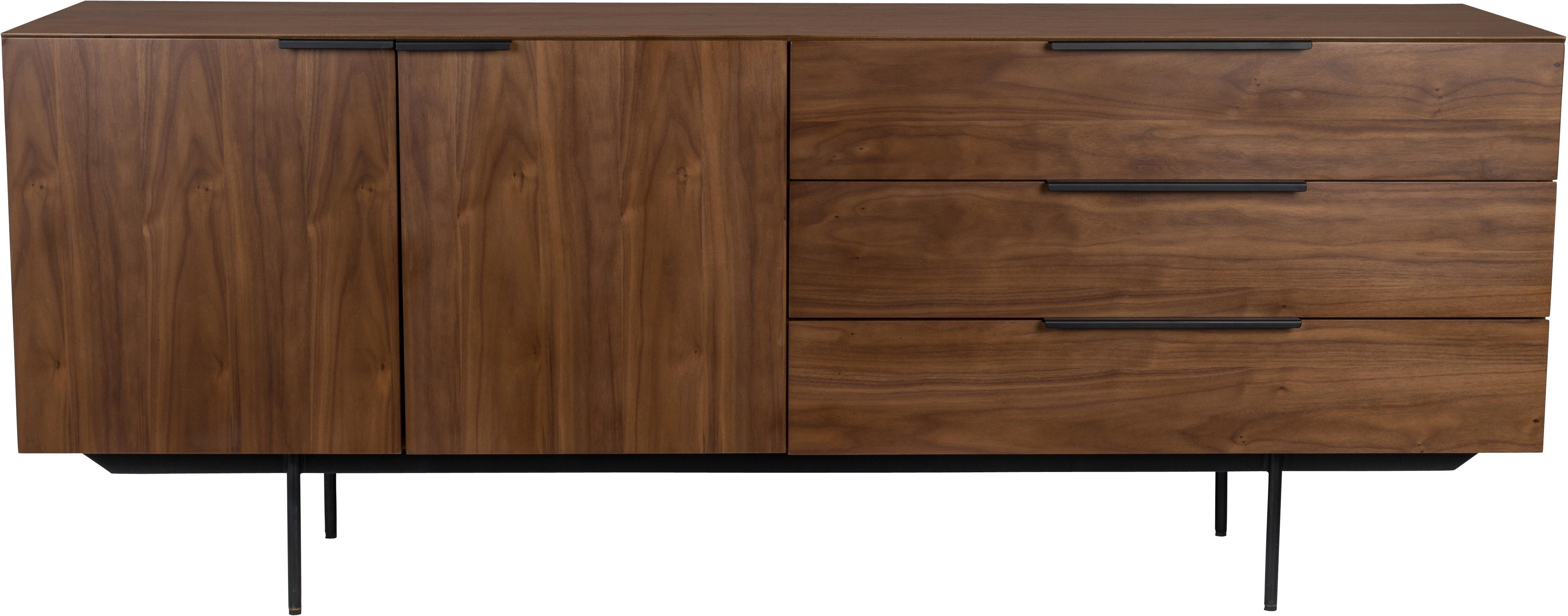 Skříňka v retro stylu s ořechovou dýhou Travis, Konstrukce: ořechová Úchyty, rám anohy: černá
