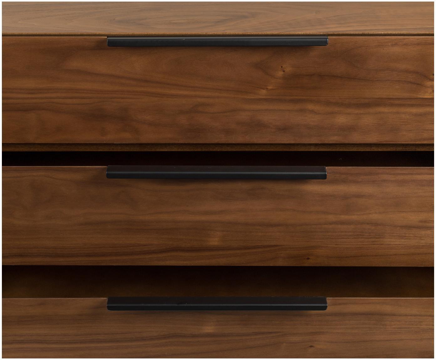 Dressoir Travis met notenhoutfineer in retro design, Frame: MDF met gelakt notenhoutf, Frame: walnootbruin. Handvatten, frame en poten: zwart, 180 x 71 cm