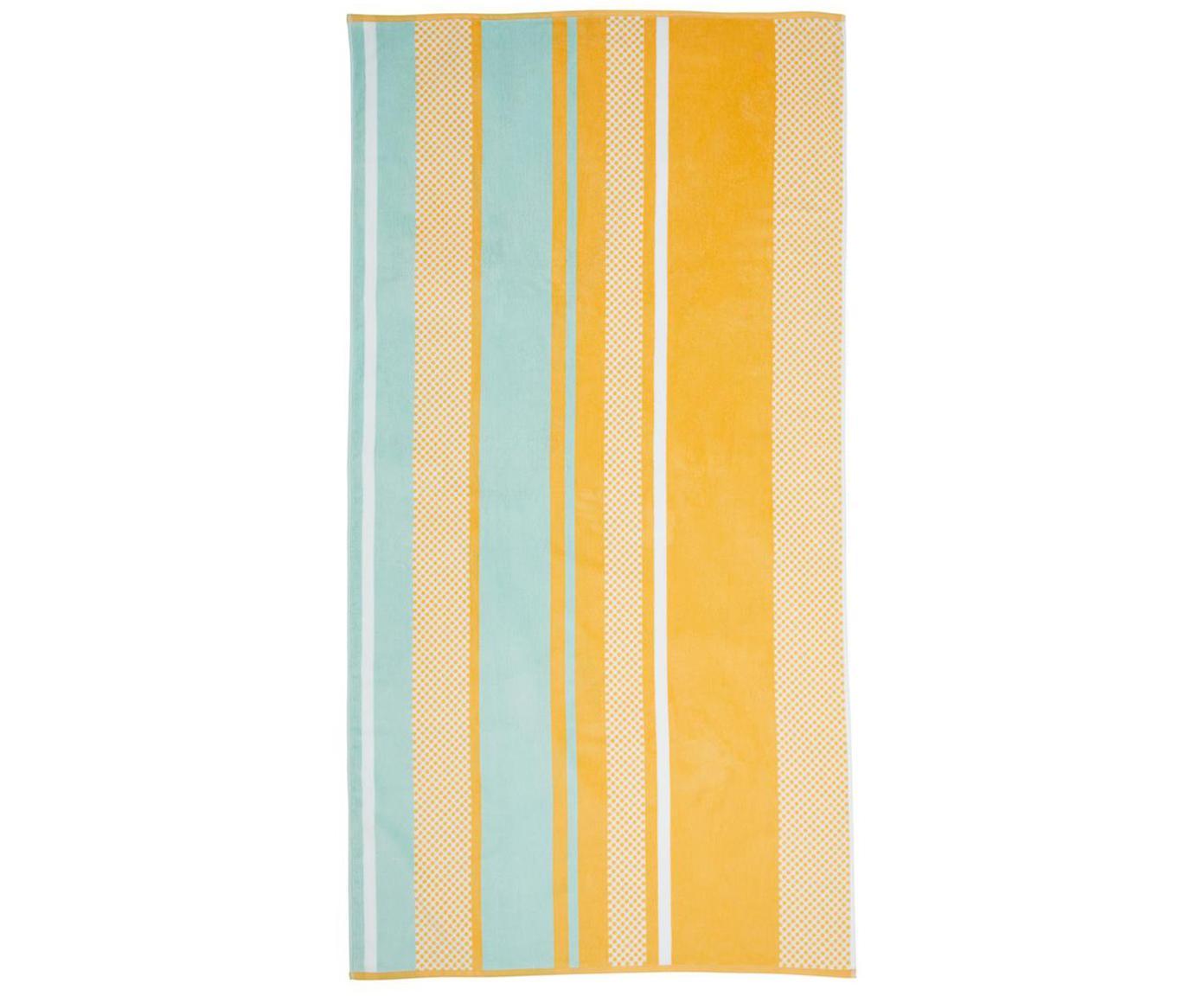 Strandlaken Sunny Lime, Katoen, lichte kwaliteit, 330g/m², Geel, lichtblauw, 100 x 180 cm