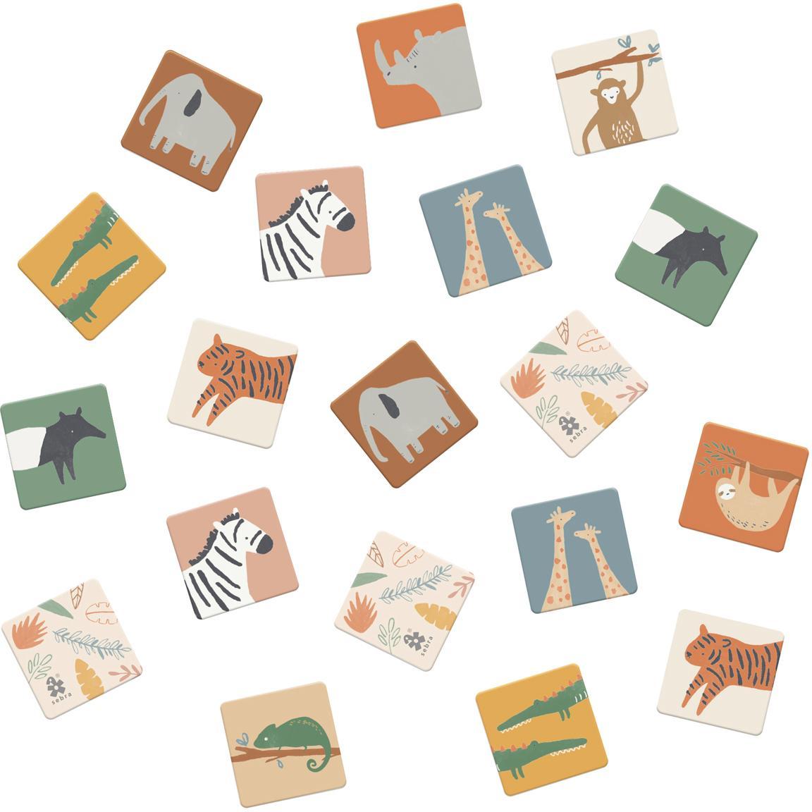 Memory Wildlife, 30 pz., Cartone solido, Multicolore, Larg. 6 x Lung. 6 cm