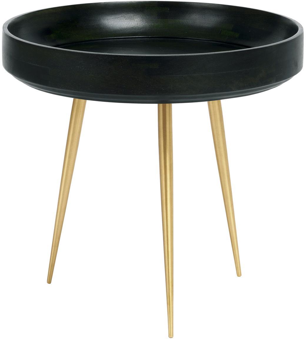 Kleiner Design-Beistelltisch Bowl Table aus Mangoholz, Tischplatte: Mangoholz, mit bleifreiem, Beine: Metall, vermessingt, Nori Grün, Messingfarben, Ø 40 x H 38 cm