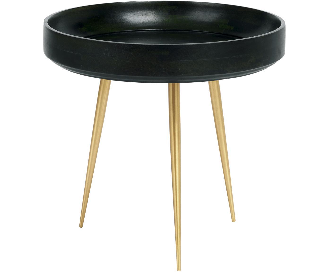 Kleine design bijzettafel Bowl Table van mangohout, Tafelblad: mangohout, bekleed met lo, Poten: vermessingd metaal, Nori groen, messingkleurig, Ø 40 x H 38 cm