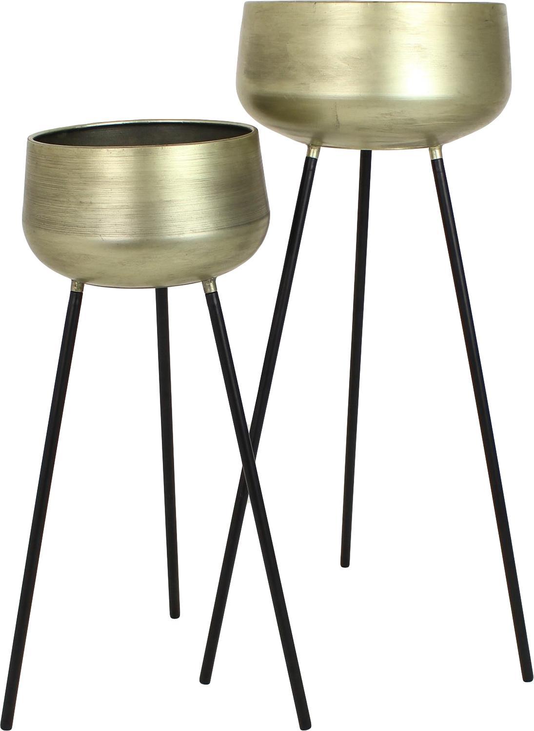 Übertopf-Set Chimp aus Metall, 2-tlg., Metall, beschichtet, Messingfarben, Schwarz, Sondergrößen