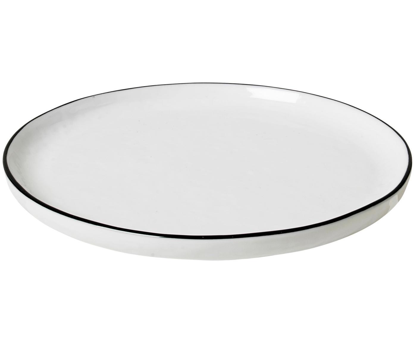 Handgemachte Dessertteller Salt, 4 Stück, Porzellan, Gebrochenes Weiß, Schwarz, Ø 18 cm