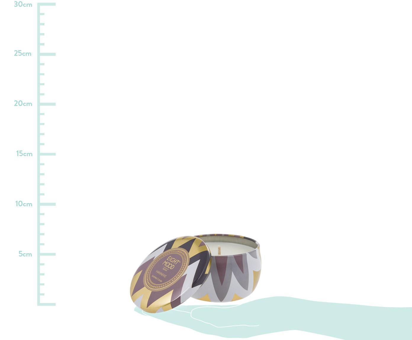 Duftkerze Hanneke (Mandarine & Feige), Behälter: Metall, Behälter: Mehrfarbig Wachs: Weiß, Ø 8 x H 5 cm