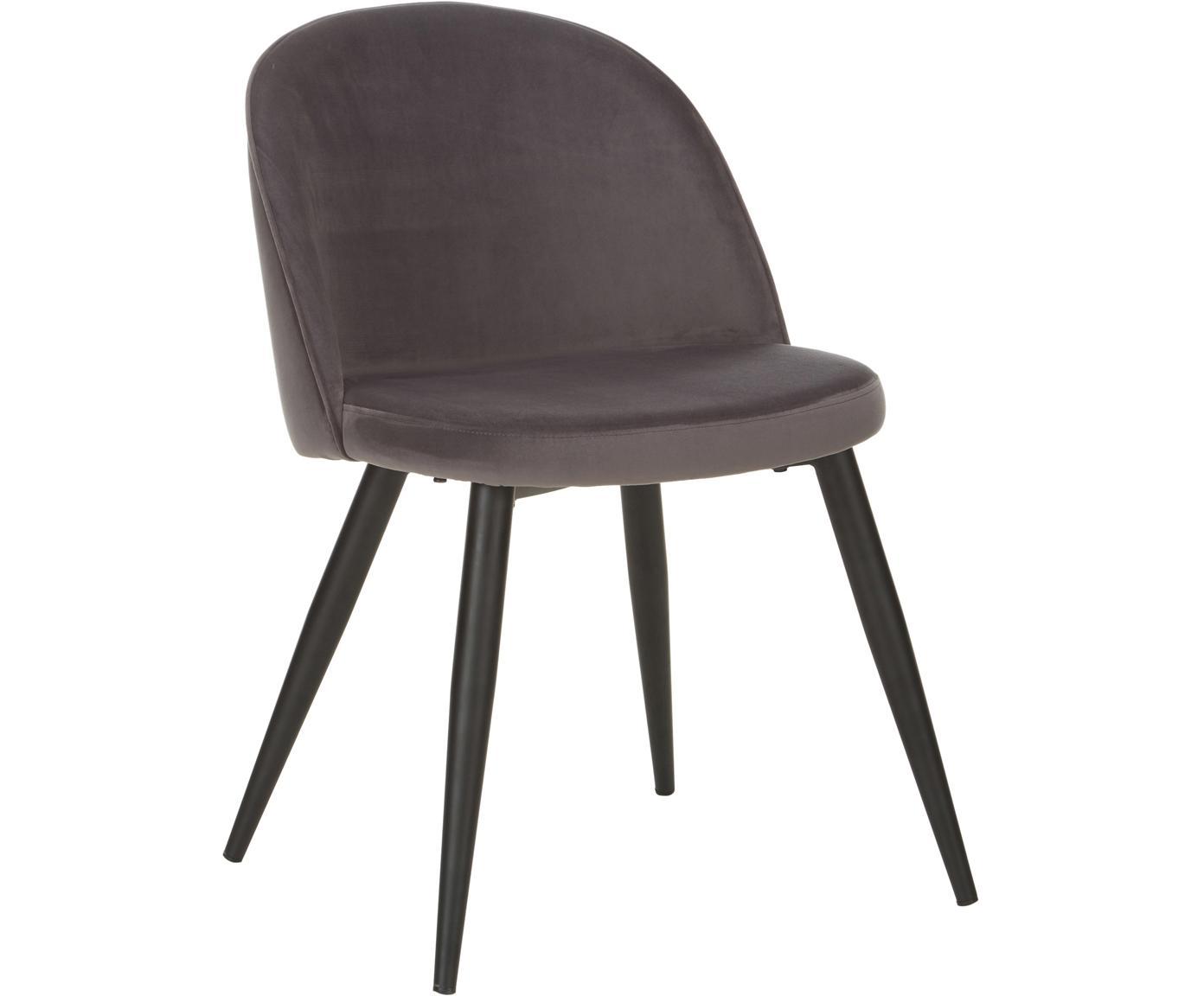 Moderne fluwelen stoelen Amy, 2 stuks, Bekleding: fluweel (polyester), Poten: gepoedercoat metaal, Donkergrijs, B 51 x D 55 cm