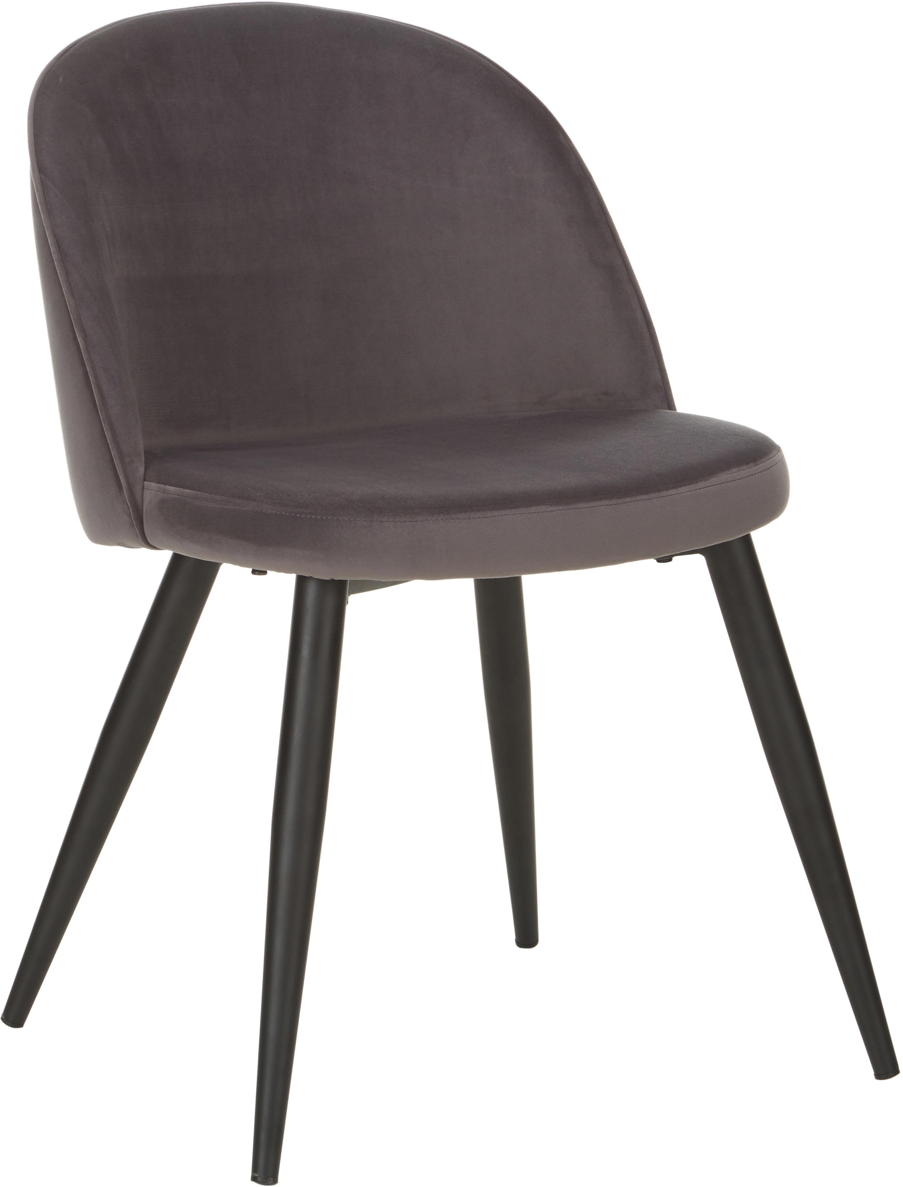 Sedia imbottita in velluto Amy 2 pz, Rivestimento: velluto (poliestere) 25.0, Gambe: metallo verniciato a polv, Grigio scuro, Larg. 51 x Prof. 55 cm