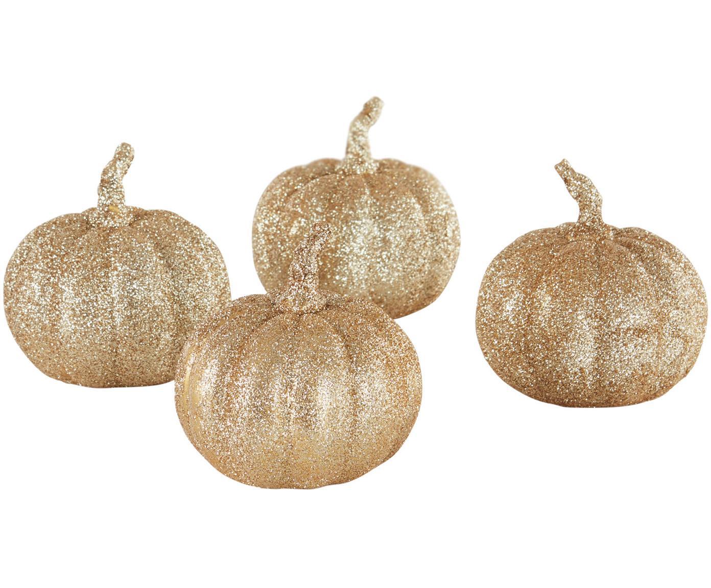 Decoratieve pompoenen Dixie, 4 stuks, Polyresin, Goudkleurig, Ø 9 x H 9 cm
