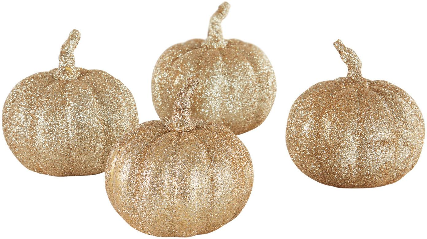Deko-Kürbis Dixie, 4 Stück, Polyresin, Goldfarben, Ø 9 x H 9 cm
