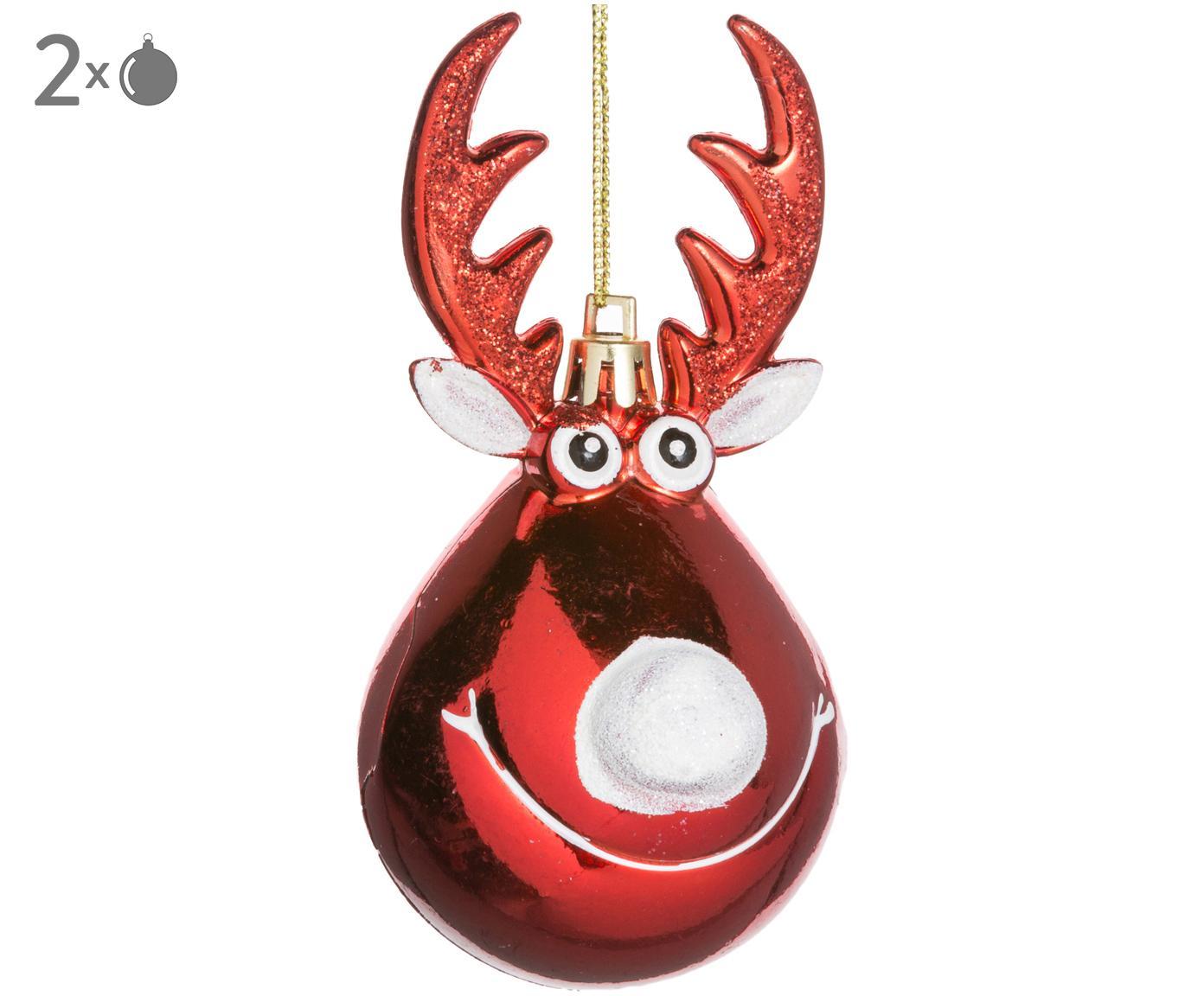 Decorazioni per l'albero di Natale Rudolph, 2 pz., Materiale sintetico, Natale rosso, bianco, dorato, Ø 5 x A 12 cm