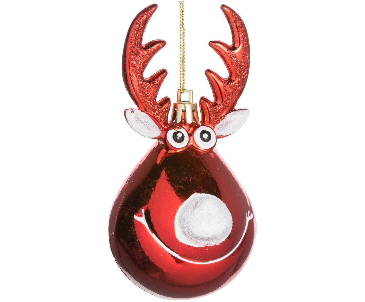 Baumanhänger Rudolph, 2 Stück, Kunststoff, Weihnachtsrot, Weiss, goldfarben, Ø 5 x H 12 cm