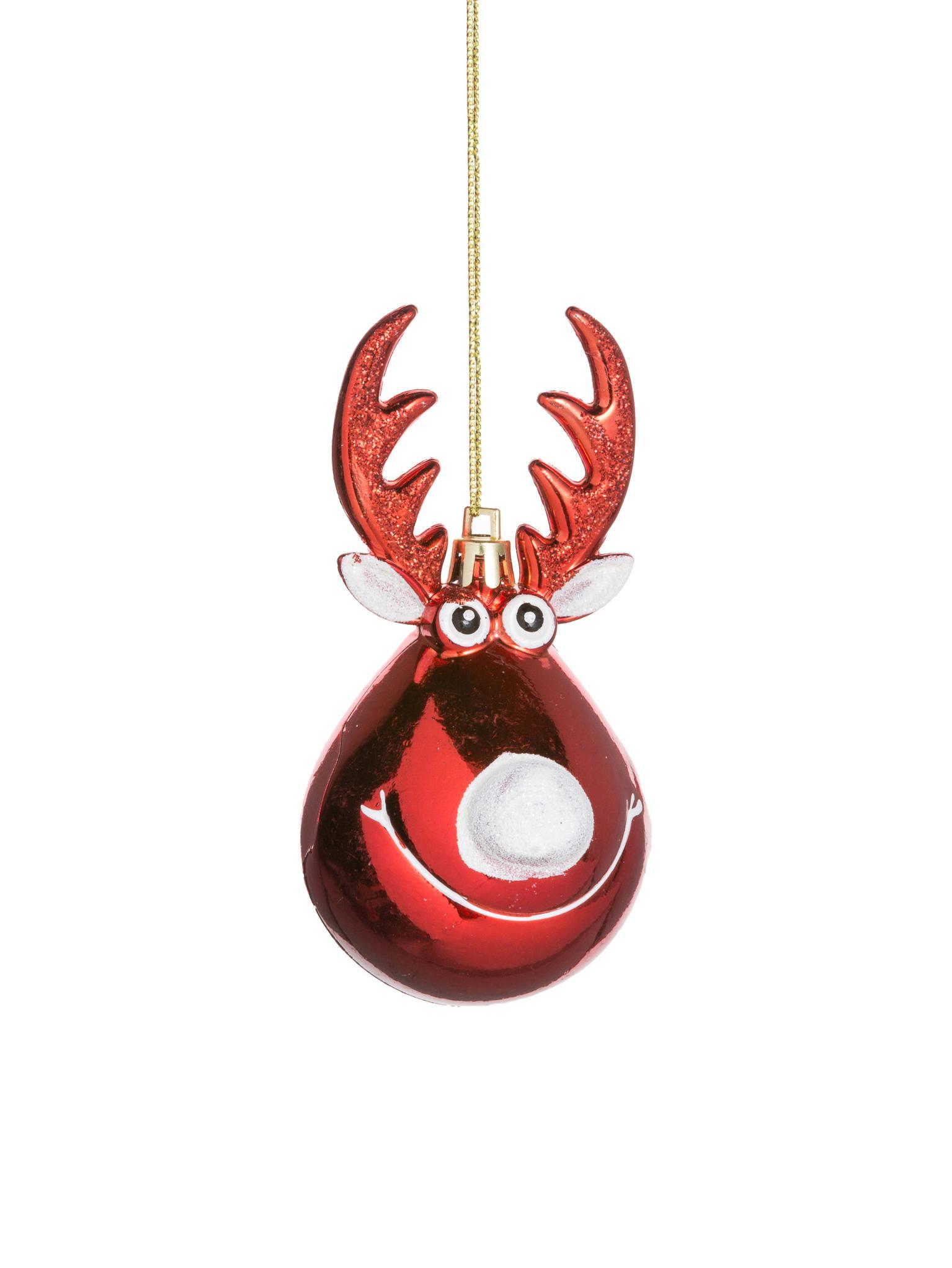 Baumanhänger Rudolph, 2 Stück, Kunststoff, Weihnachtsrot, Weiß, goldfarben, Ø 5 x H 12 cm