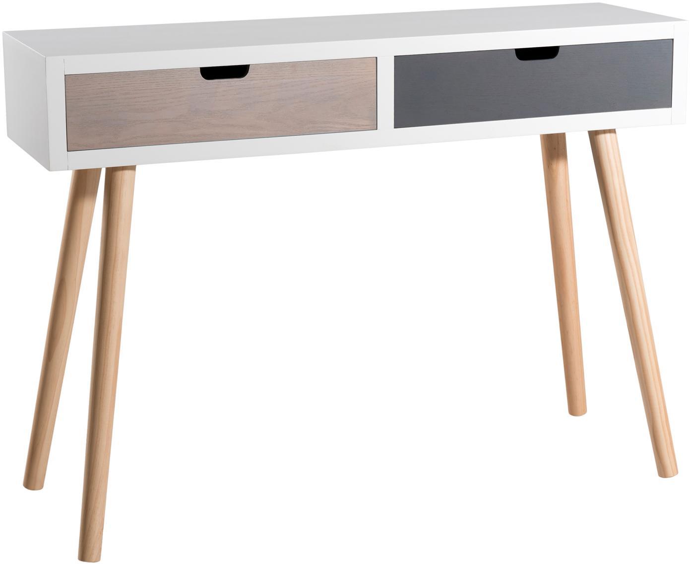 Consola Enzo, con 2 cajones, Estructura: tablero de fibras de dens, Patas: madera de pino, pintado, Blanco, marrón, gris. Pino, An 110 x F 33 cm