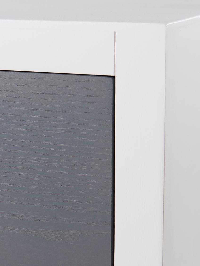 Konsole Enzo mit 2 Schubladen, Korpus: Mitteldichte Holzfaserpla, Beine: Kiefernholz, lackiert, Weiß, Braun, Grau. Kiefer, B 110 x T 33 cm