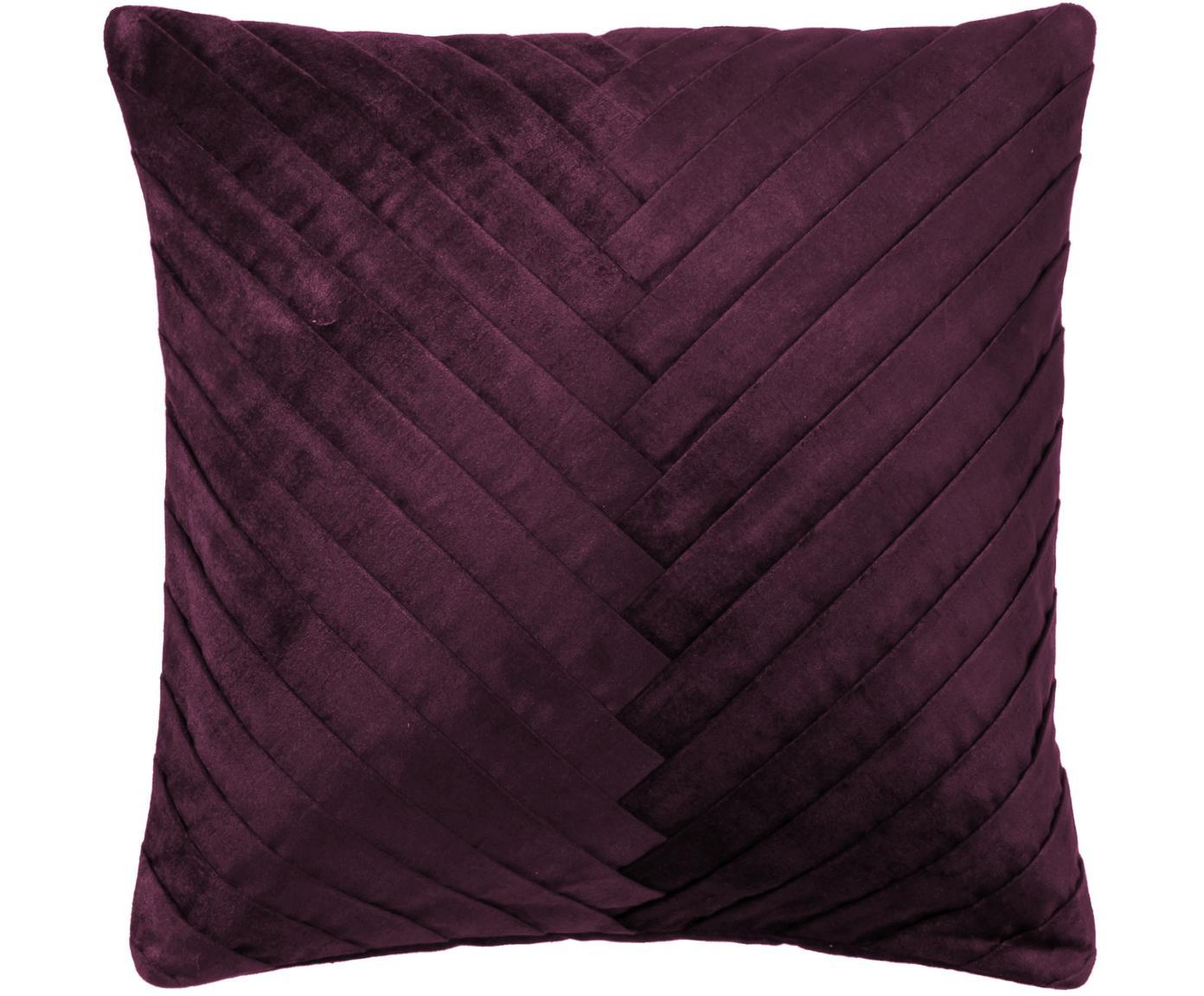 Poszewka na poduszkę z aksamitu Betty, 50% bawełna, 50% wiskoza, Oberżynowy, S 50 x D 50 cm