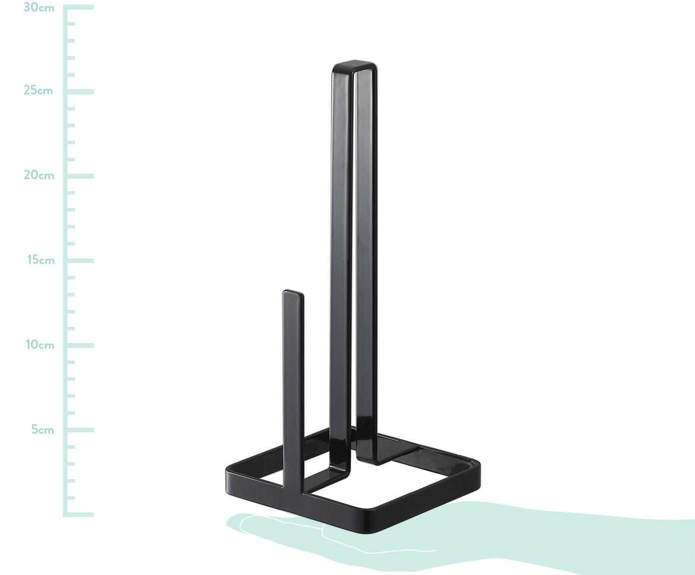 Keukenrolhouder Tower, Gecoat staal, Zwart, 11 x 27 cm