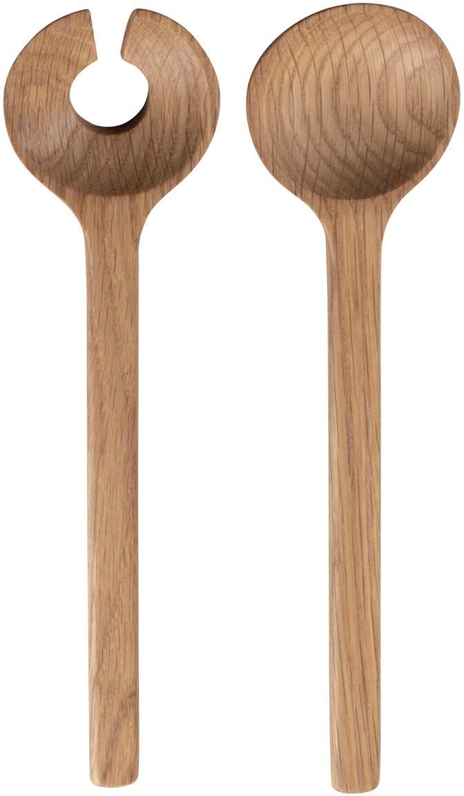 Cubiertos para ensalada de madera de roble Bit, 2pzas., Madera de roble, Roble, L 24 cm