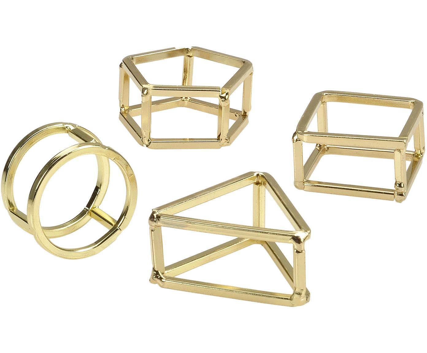 Servilleteros Mattie, 4uds., Metal, recubierto, Latón, Ancho 7 x Alto 3 cm