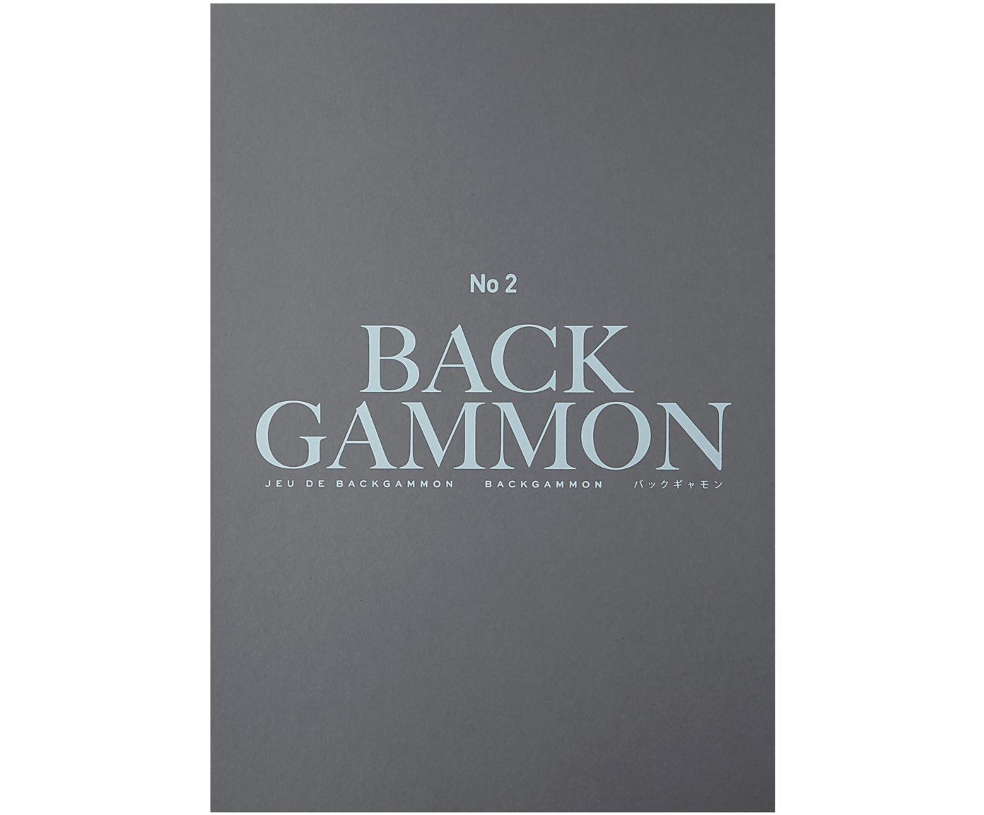 Backgammonset Classic, Papier, acryl, Grijs, zwart, turquoise, wit, 31 x 5 cm