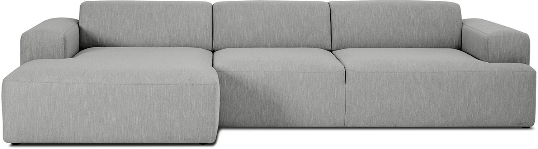 Ecksofa Melva (4-Sitzer), Bezug: Polyester Der hochwertige, Gestell: Massives Kiefernholz, Spa, Füße: Kiefernholz, Webstoff Grau, B 319 x T 144 cm