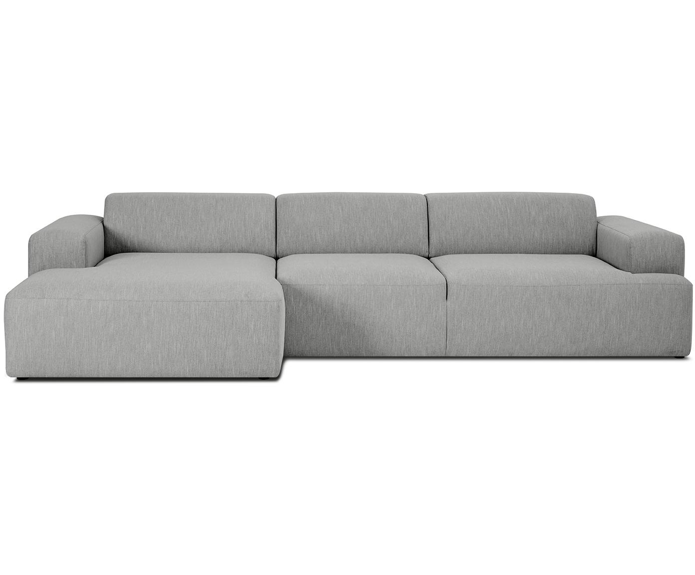 Ecksofa Melva (4-Sitzer), Bezug: Polyester 35.000 Scheuert, Gestell: Massives Kiefernholz, Spa, Webstoff Grau, B 319 x T 144 cm