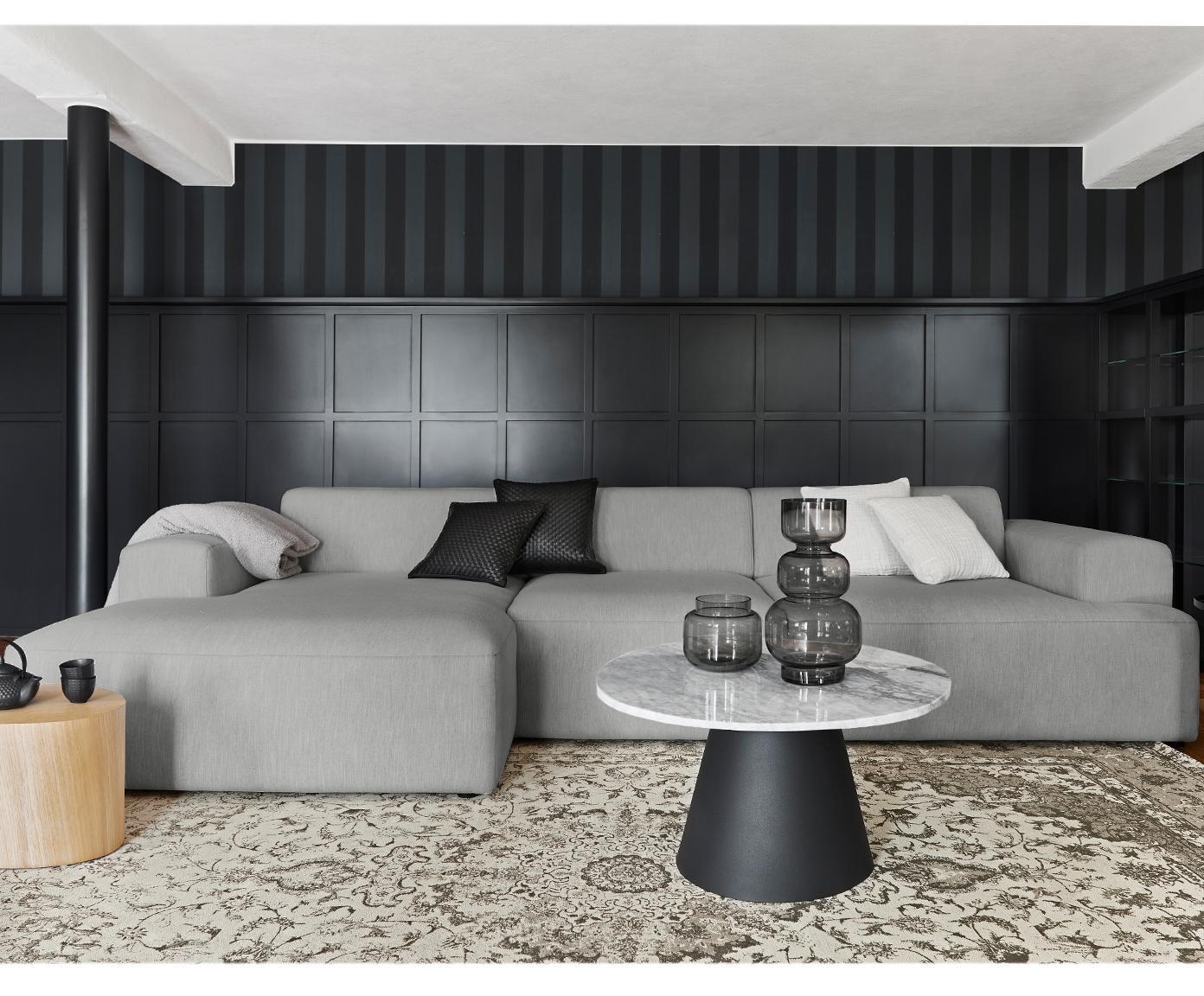 Hoekbank Melva (4-zits), Bekleding: polyester, Frame: massief grenenhout, spaan, Poten: grenenhout, Geweven stof grijs, B 319 x D 144 cm