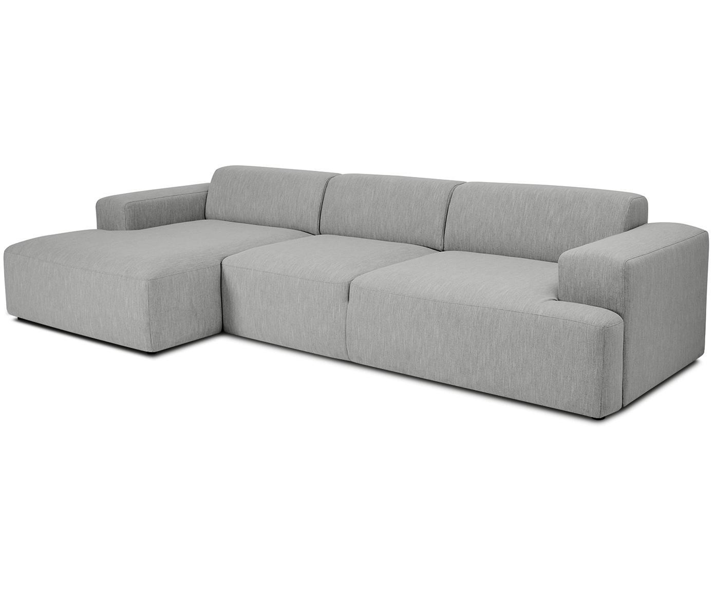 Ecksofa Melva (4-Sitzer), Bezug: Polyester 35.000 Scheuert, Gestell: Massives Kiefernholz, Spa, Füße: Kiefernholz, Webstoff Grau, B 319 x T 144 cm