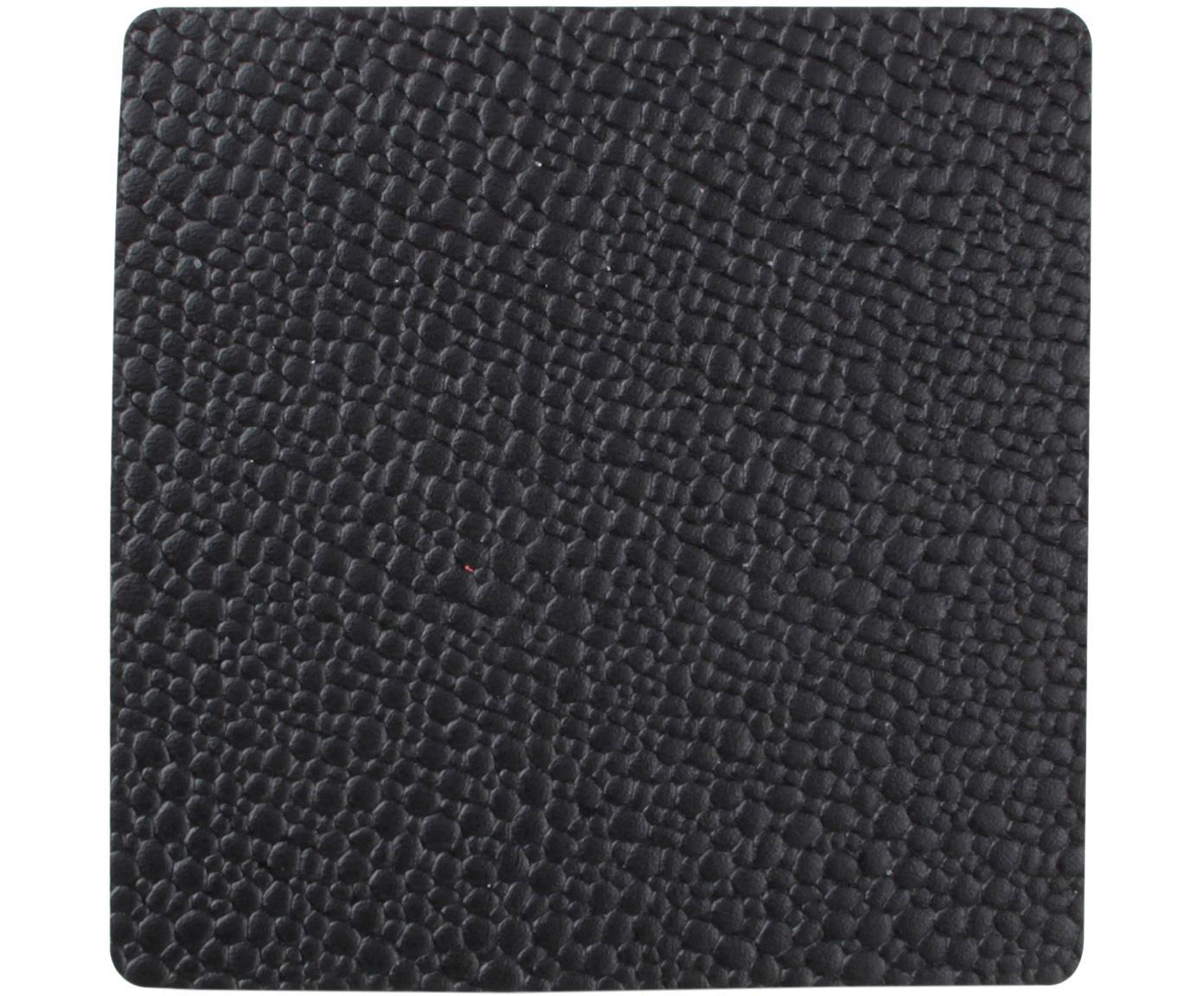 Podstawka Tably, 4 szt., Sztuczna skóra, Czarny, S 10 x W 2 cm