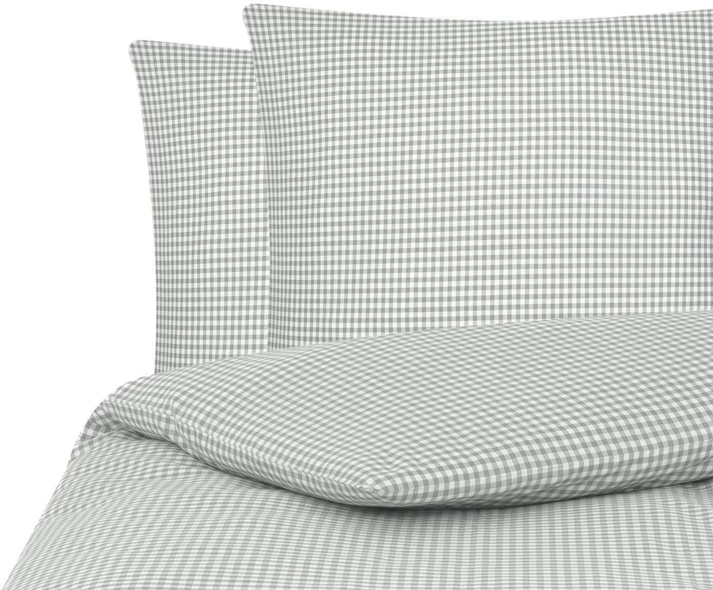 Karierte Baumwoll-Bettwäsche Scotty in Grau/Weiß, 100% Baumwolle  Fadendichte 118 TC, Standard Qualität  Bettwäsche aus Baumwolle fühlt sich auf der Haut angenehm weich an, nimmt Feuchtigkeit gut auf und eignet sich für Allergiker, Hellgrau/Weiß, 200 x 200 cm + 2 Kissen 80 x 80 cm