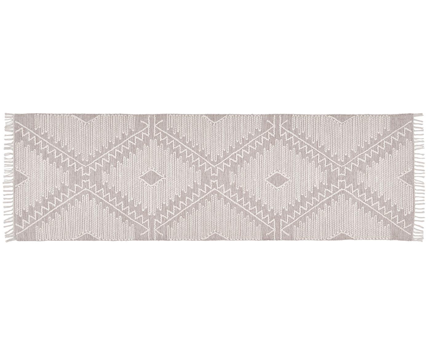 Ręcznie tkany chodnik z niskim stosem Karola, Taupe, kremowobiały, S 80 x D 250 cm