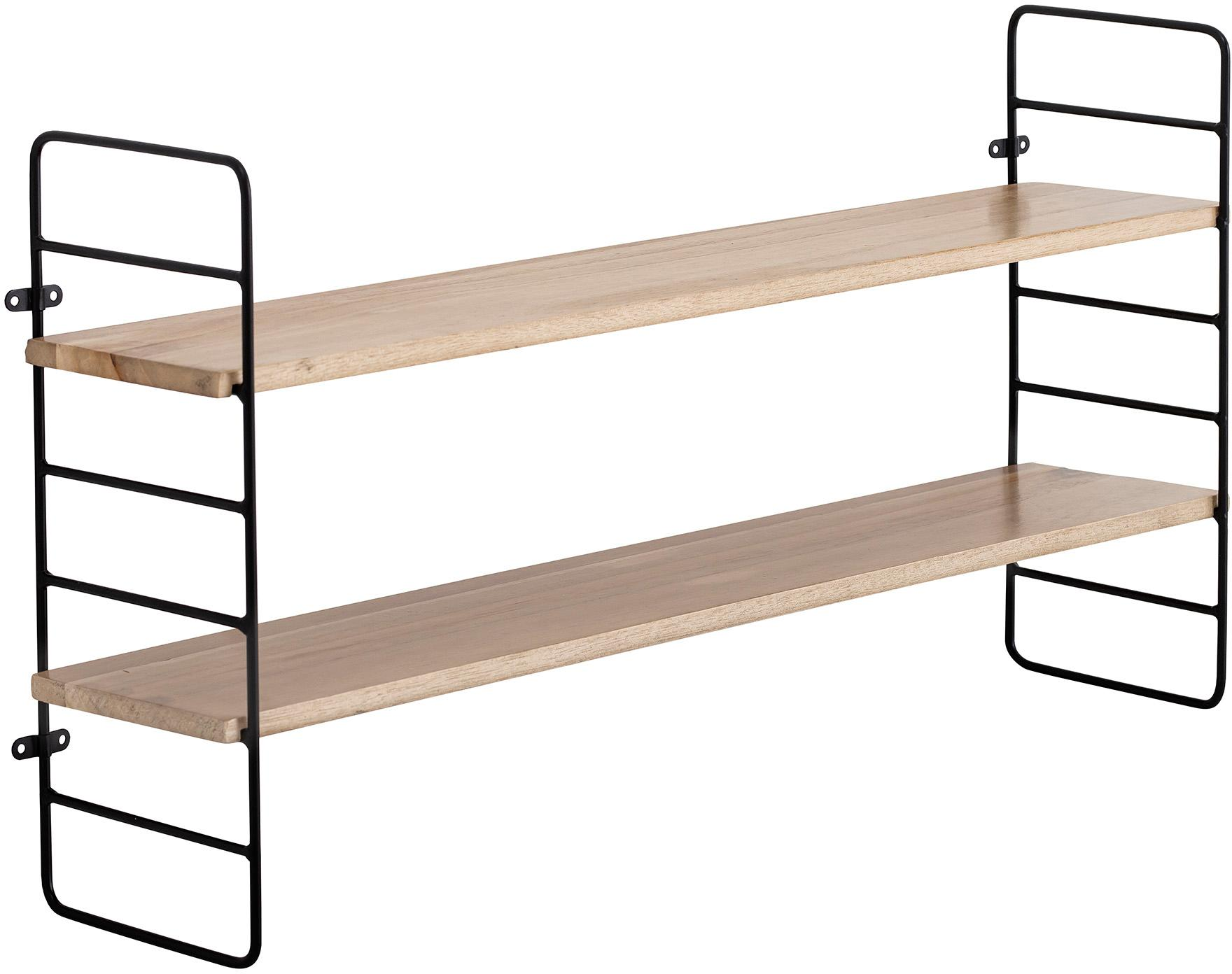 Półka ścienna z drewna i metalu North, Stelaż: metal powlekany Płyta pil, Czarny, brązowy, S 65 x W 35 cm