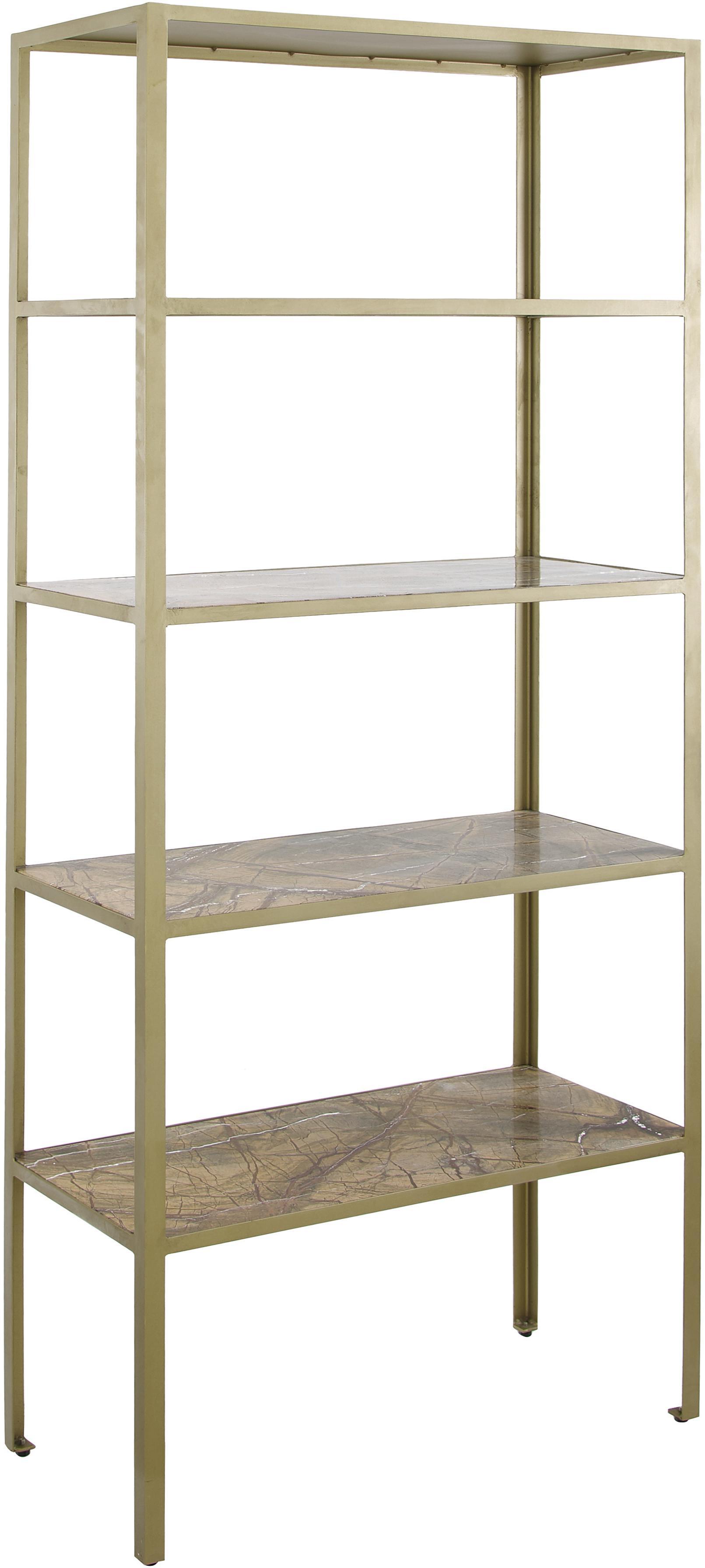 Libreria in marmo Jungle, Struttura: angoli metallici aperti i, Ripiani: marmo Bidasar, solido, Dorato, marrone, Larg. 75 x Alt. 180 cm