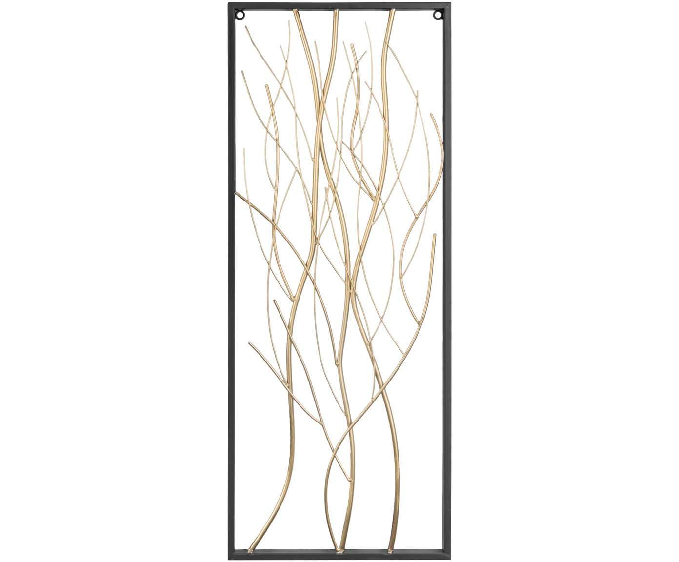 Wandobjekt Branches aus lackiertem Metall, Metall, lackiert, Schwarz, Messingfarben, Weiss, 33 x 85 cm