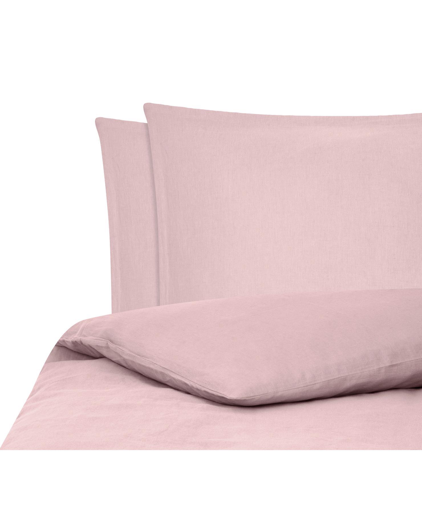 Pościel z lnu z efektem sprania Nature, Blady różowy, 240 x 220 cm