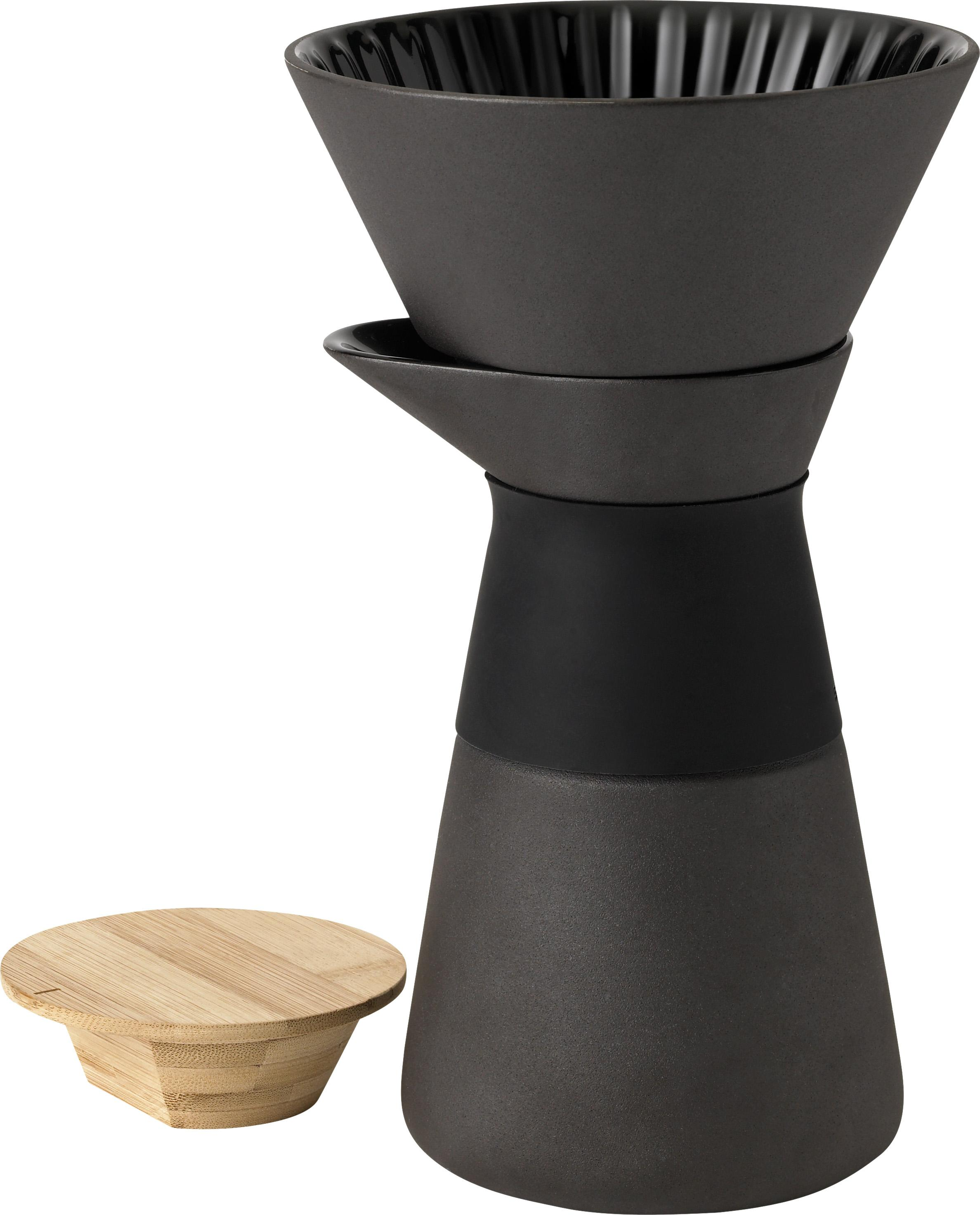 Caffettiera Theo, Coperchio: legno di bambù, Manico: termoisolante silicone, Nero, 500 ml