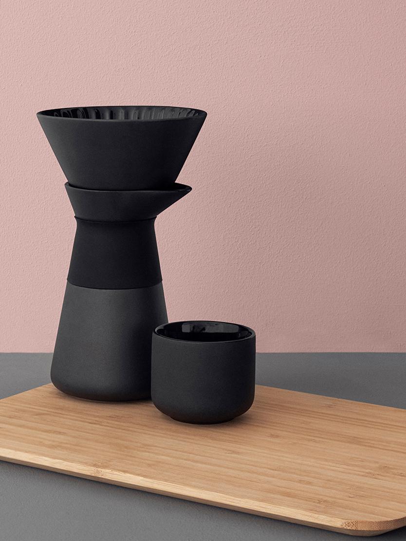 Cafetière Theo, Deksel: bamboehout, Zwart, 500 ml
