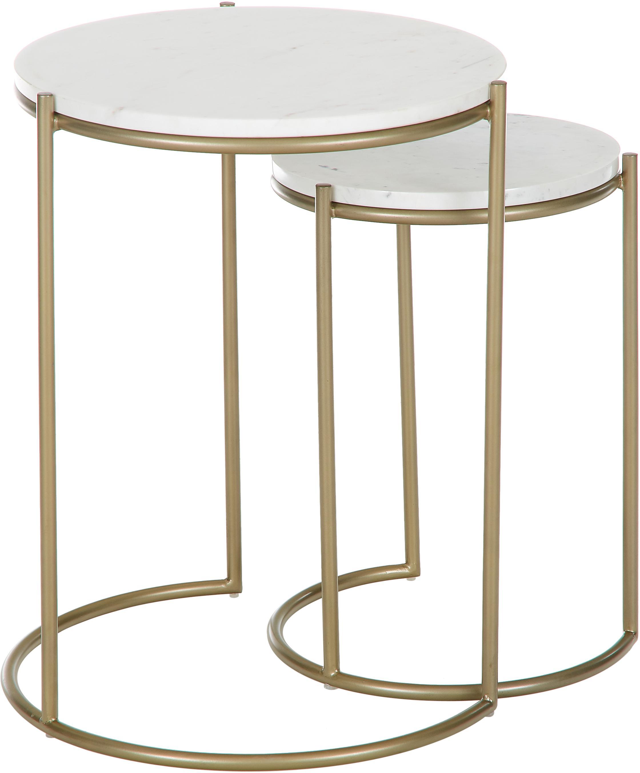 Set de mesas auxiliares de mármol Ella, Tablero: mármol, Estructura: metal con pintura en polv, Mármol blanco, dorado, Set de diferentes tamaños