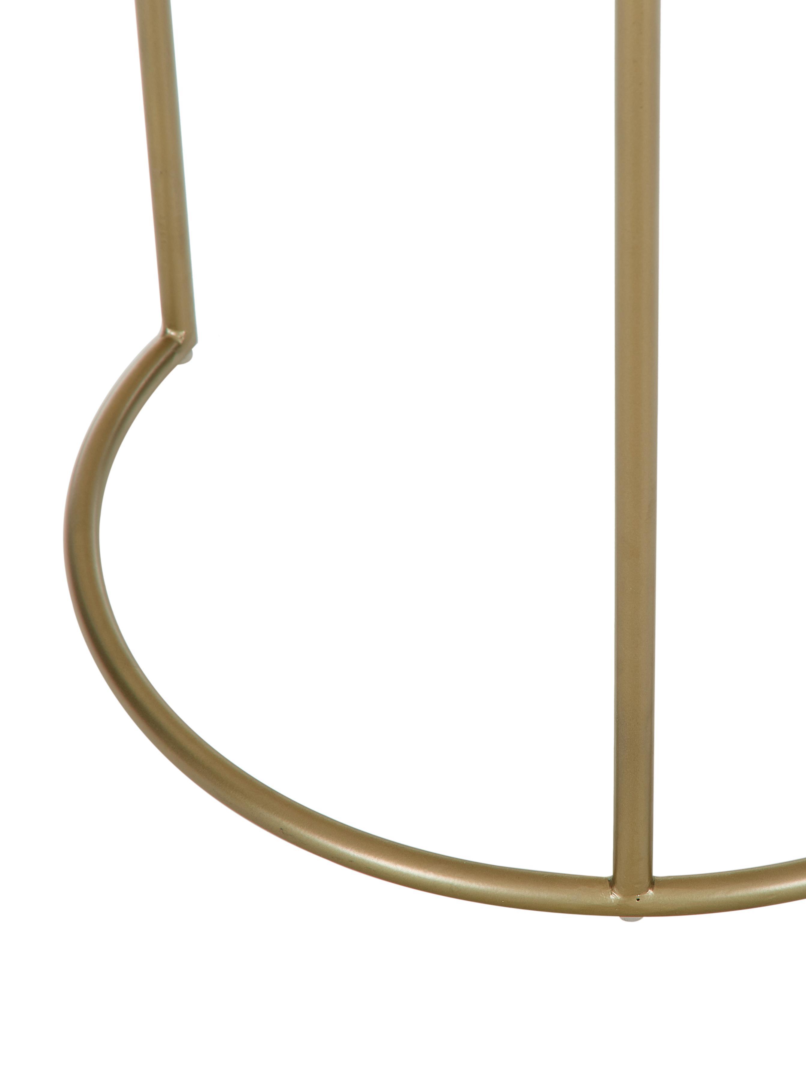 Set 2 tavolini in marmo Ella, Ripiani: marmo, Struttura: metallo verniciato a polv, Piani d'appoggio: marmo bianco Struttura: dorato opaco, Set in varie misure