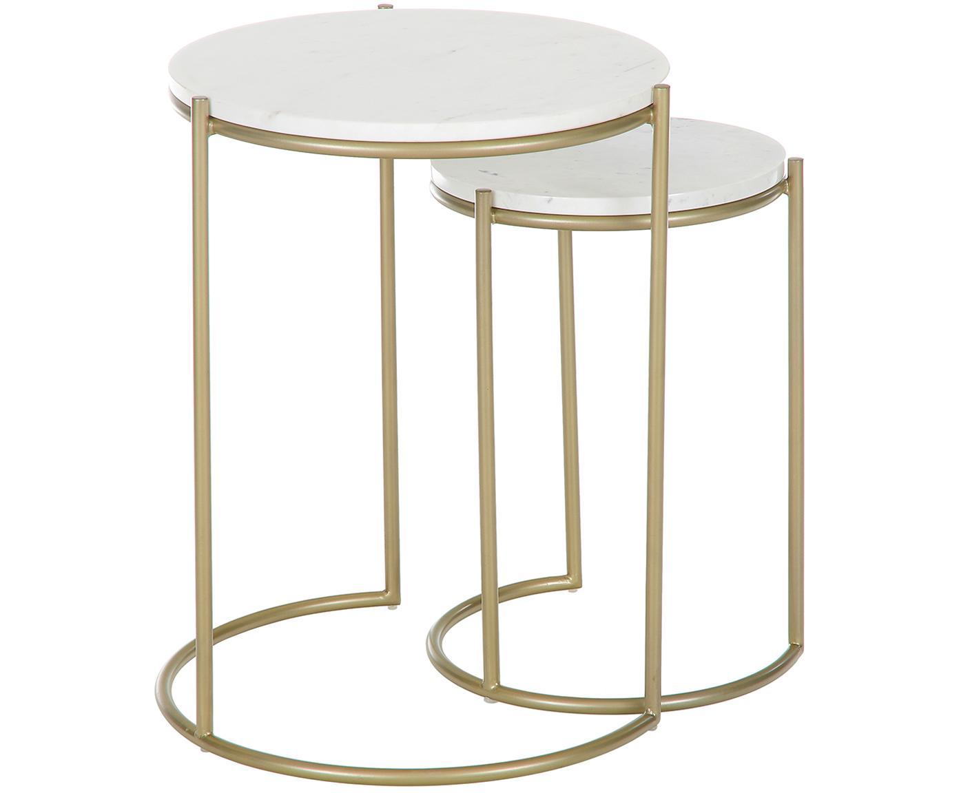 Set de mesas auxiliares de mármol Ella, Tablero: mármol natural, Estructura: metal con pintura en polv, Mármol blanco, dorado, Tamaños diferentes