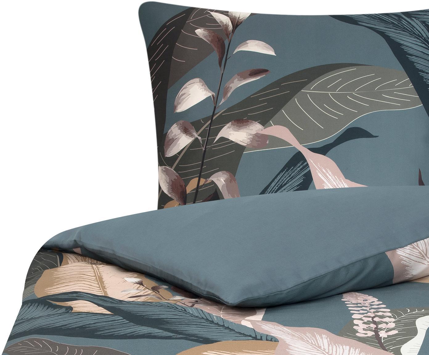 Pościel z satyny bawełnianej Flora, Przód: wielobarwny Tył: petrol, 135 x 200 cm