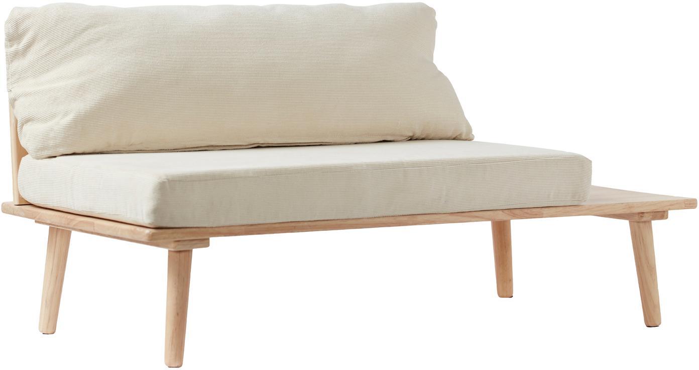 Kinder-Sitzbank Saga, Bezug: Baumwolle, Gestell: Gummibaumholz, Beige, Gummibaumholz, 90 x 44 cm