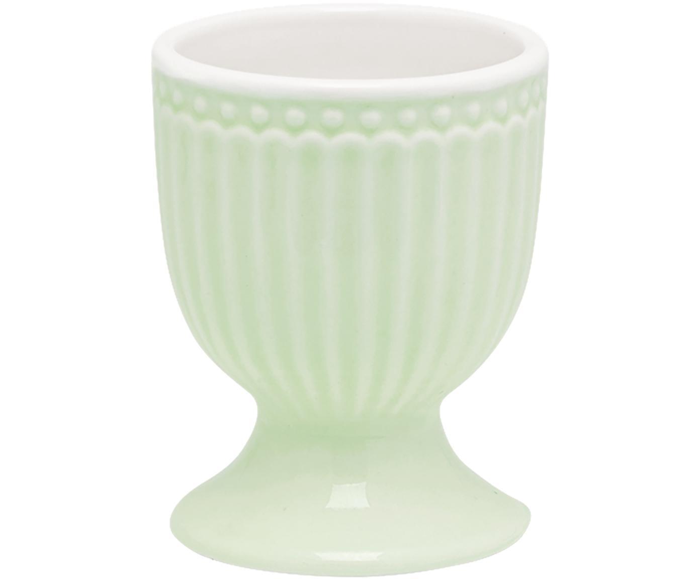 Soportes de huevo Alice, 2uds., Porcelana, Verde menta, Ø 5 x Al 7 cm