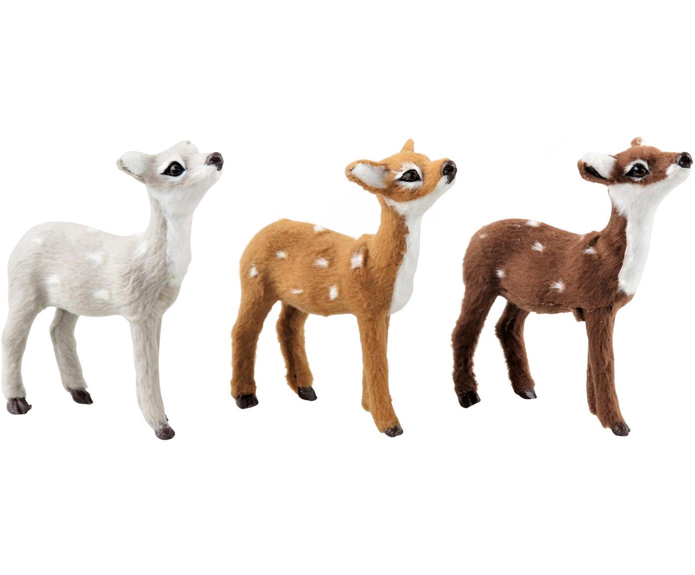 Deko-Objekte Bambi, 3-tlg., Polyresin, Weiss, Brauntöne, 8 x 10 cm