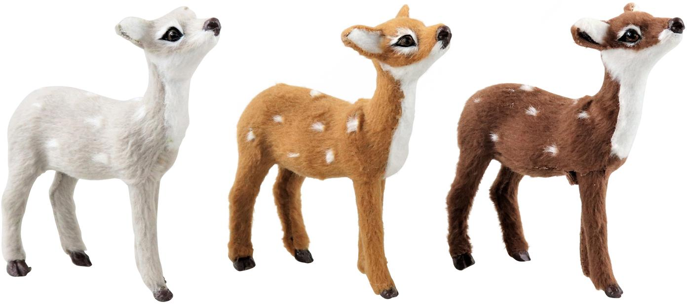 Deko-Objekte Bambi, 3-tlg., Polyresin, Weiß, Brauntöne, 8 x 10 cm