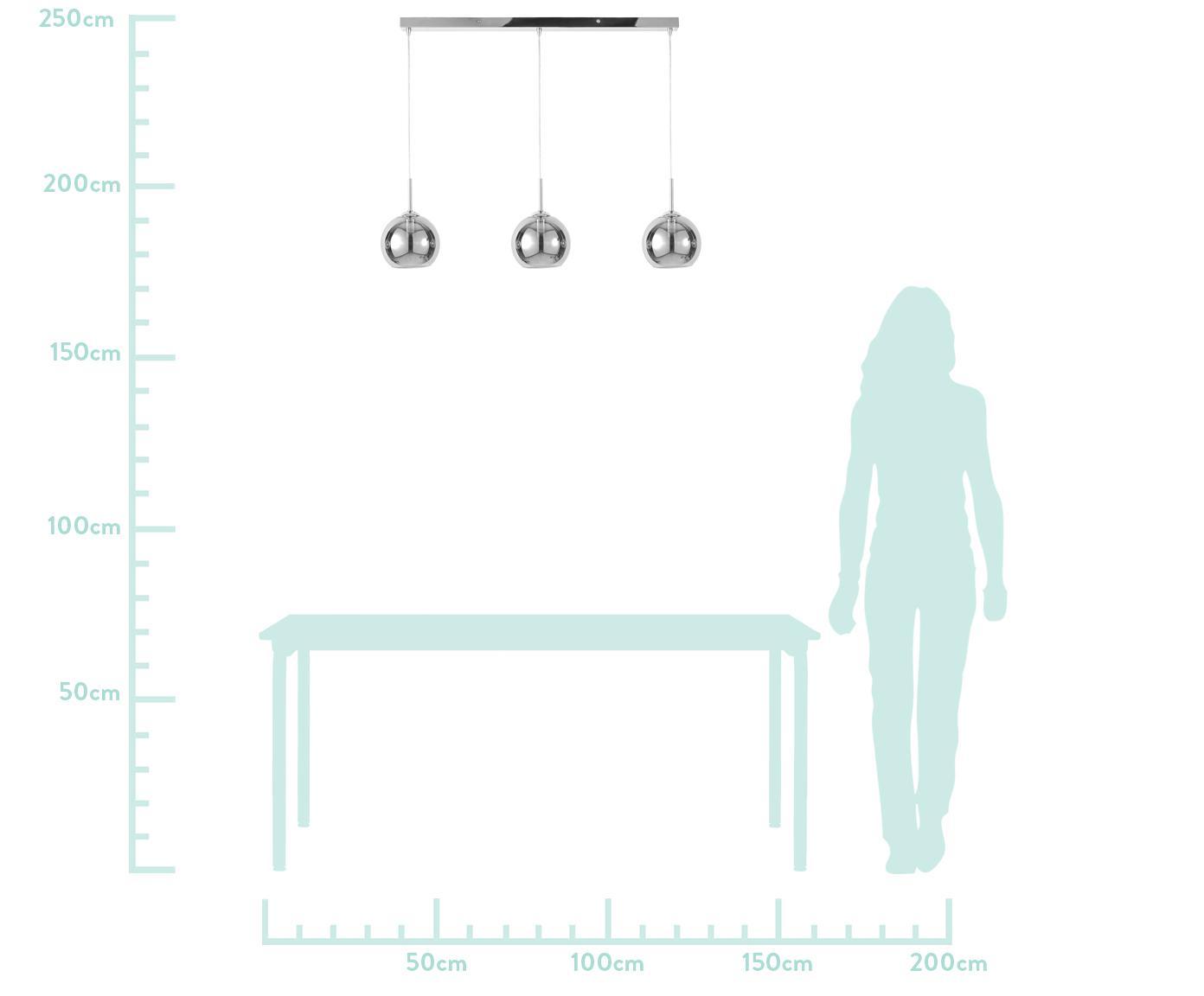 Lampada a sospensione color cromo Hamilton, Paralume: vetro specchiato, Struttura: metallo cromato, Baldacchino: metallo cromato, Grigio, Larg. 81 x Prof. 15 cm