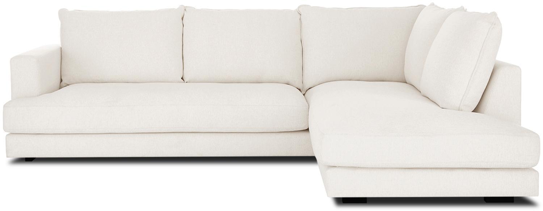 Grote hoekbank Tribeca, Bekleding: polyester De bekleding is, Frame: massief grenenhout, Poten: massief gelakt beukenhout, Geweven stof beige, B 274 x D 192 cm